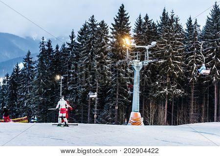 13 january 2017 pair of skiers on the track. Ski resort Bukovel Ukraine