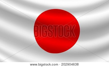 Japan flag of red circle and white background. Vector Japanese Asian country official national flag waving with curved fabric or waves texture