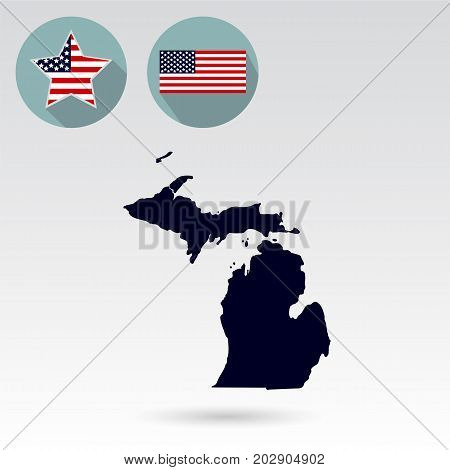 Map of the U.S. state of Michigan on a white background. American flag star.