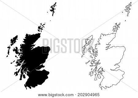 Scotland map vector illustration , scribble sketch Scotland map