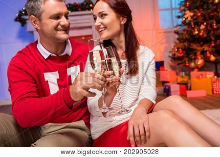 Mature Couple Clinking Champagne Glasses