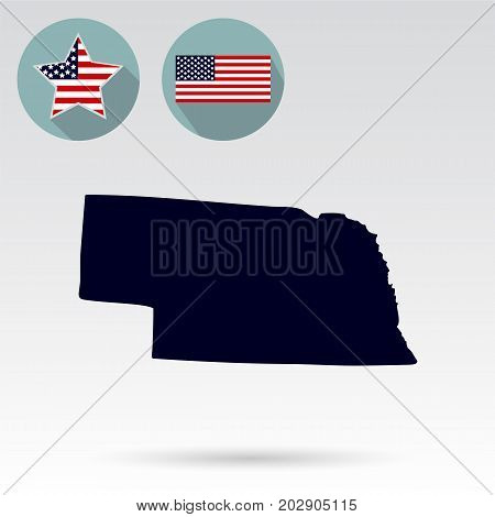 Map of the U.S. state of Nebraska on a white background. American flag star