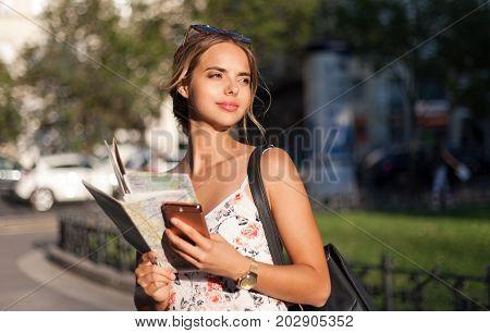 Beautiful Young Tourist Woman.