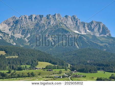 View from Ellmau to Wilder Kaiser mountain,Tirol,Austria