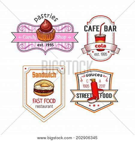Fast food cafe or bar icons set of fastfood meal and snack. Vector isolated chocolate cupcake or candy pastry dessert, coffee or soda drink and cheeseburger, ketchup sauce for street food bistro menu