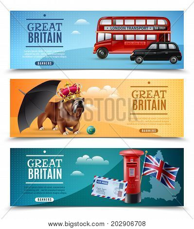 Set of horizontal banners with travel symbols of great britain including umbrella, postbox, bulldog isolated vector illustration