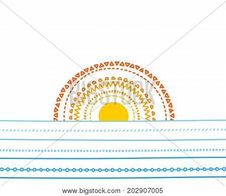 Sunset and the sea doodle poster template, vector background