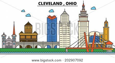 Ohio, Cleveland.City skyline: architecture, buildings, streets, silhouette, landscape, panorama, landmarks. Editable strokes. Flat design line vector illustration concept. Isolated icons