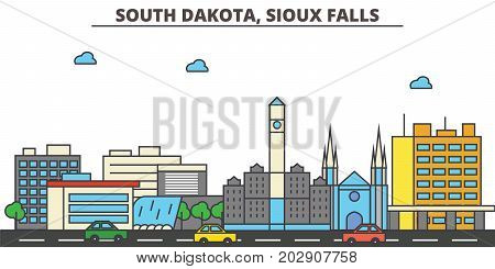 South Dakota, Sioux Falls.City skyline: architecture, buildings, streets, silhouette, landscape, panorama, landmarks. Editable strokes. Flat design line vector illustration concept. Isolated icons