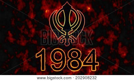 The main symbol of the religion of the Sikhs, the Khanda and Tragic day for Sikhs 1984 on the background of fire.
