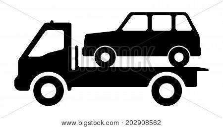 Car on a tow truck. Vector illustration.