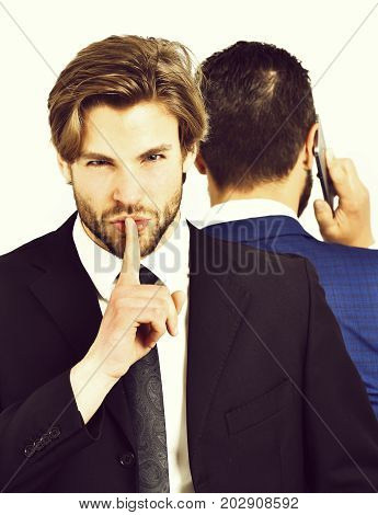 Man With Hush Gesture, Busy Businessman Speaking On Phone