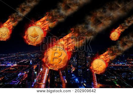 Concept of Group of Cryptocurrencys coin Price falling like meteorite