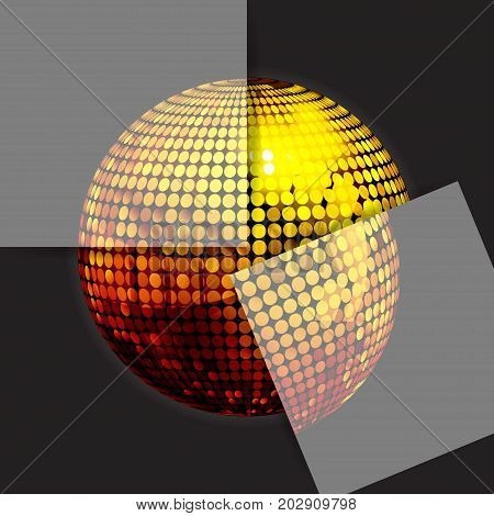 3D Illustration of Golden Disco Ball Puzzle with Two Panels Over Black Background