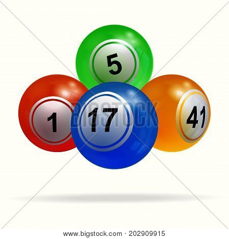 3D Illustration of New Bingo Lottery Balls Floating Over White Background with Shadow
