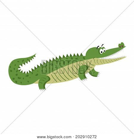 Green cartoon crocodile in natural position isolated on white background. Big reptile with wide open mouth vector illustration. Drawn friendly croc with eyebrows in flat design, sticker for children