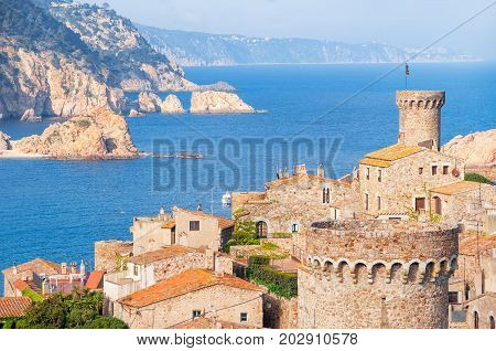 Spain.  Catalunya. Tossa De Mar. Aerial And Panoramic View Of Fortress Vila Vella And Badia De Tossa