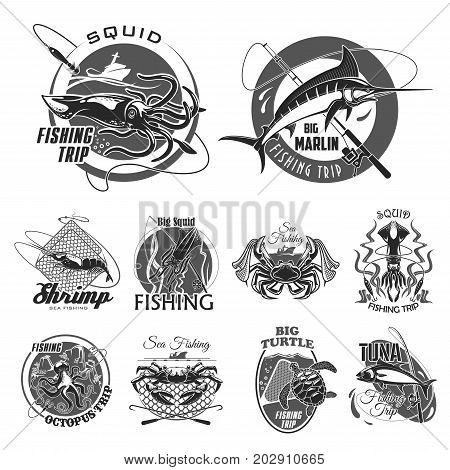 Fishing trip or fisherman club icons set of big fish on hook and tackle. Vector isolated badges of squid, turtle or shrimp and fishing rod with lure oe net, tuna or salmon and marlin or octopus