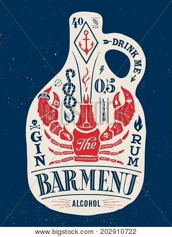 Poster bottle of alcohol with hand drawn lettering. Colorful vintage drawing for pub, bar menu, beer card, t-shirt print and alcohol themes. Bottle of bar menu with lettering. Vector Illustration