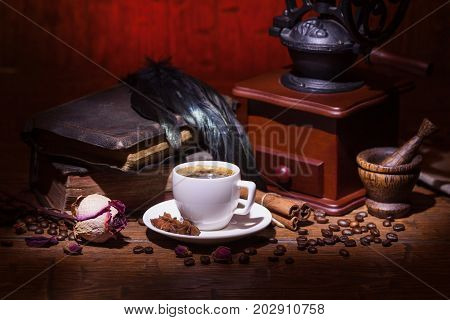 Cup Of Coffee, Dry Rose And Grinder