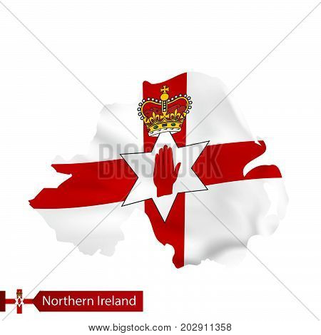 Northern Ireland Map With Waving Flag Of Country.
