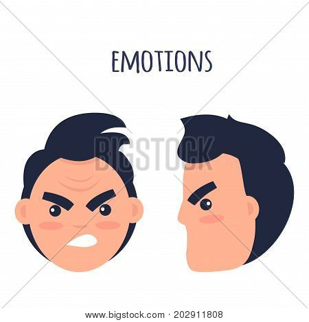 Cartoon brunette male character with twisted mouth frowns his eyebrows from front view and in profile isolated on white background. Human emotion of anger and annoyance vector illustration flat style