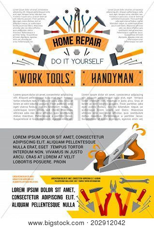 Home repair poster of handyman work tools for woodwork, carpentry and house renovation or decor design. Vector grinder plane, hammer or plaster trowel and paint brush, drill or screwdriver and nippers