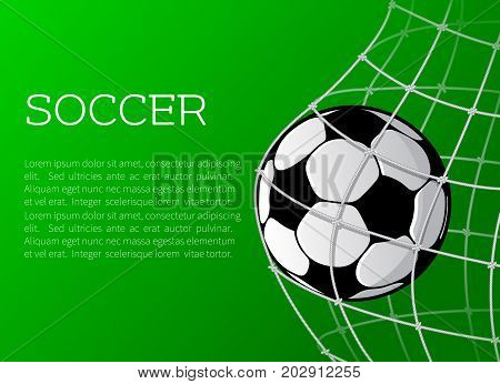 Soccer match or football sport championship poster template. Vector football or soccer ball in goal gates on playing field for tournament announcement or sport event and information flyer