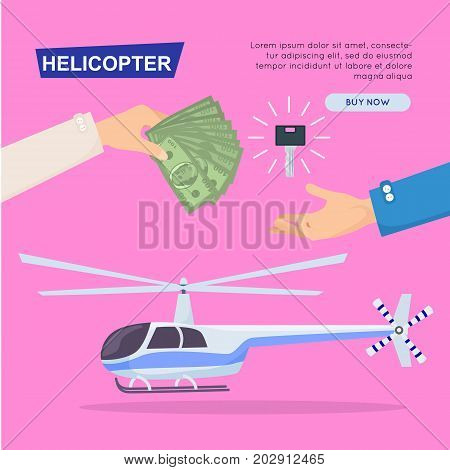 Buying helicopter online, plane sale by cash. Getting new key web banner. Customer buy helicopter. Transport advertising company, e-commerce concept vector illustration business agreement.