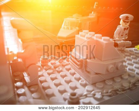 Ufa Russia - 5 September 2017: two soldiers mini LEGO characters a helicopter from plastic blocks