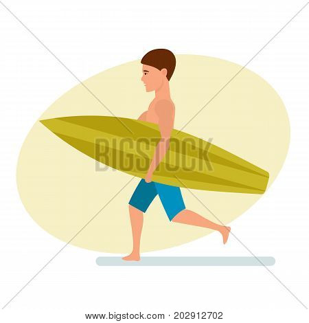 Summer vacation on sea and beach. Surfer man stands sideways holding board for swimming in his hands. Recreational beach water sport. Character person. Vector illustration isolated in cartoon style.