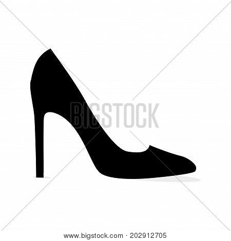 Black elegant stiletto shoe silhouette isolated on white background. Fashionable women footwear for chic look. Luxurious leather footwear vector illustration. Elegant stilettos for glamorous outfit.