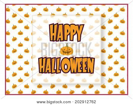 A Halloween greeting with happy pumpkins and semi-transparent overlay. EPS vector