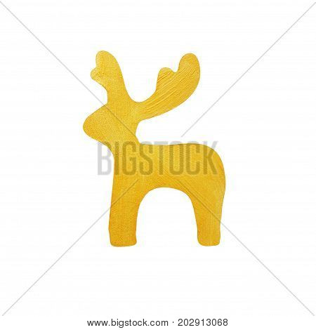 Christmas deer painted with decorative brilliant golden paint. Christmas symbol on isolated white background. Golden brush stroke. Christmas gold glitter elements.