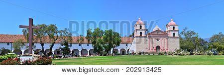 SANTA BARBARA JULY 28: The historic Santa Barbara old spanish mission in California USA on July 28 2017.