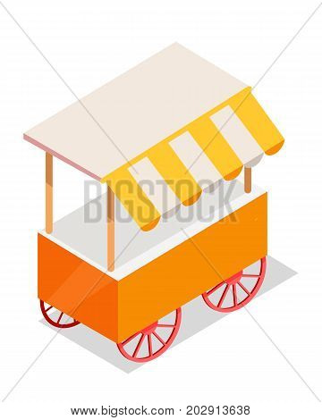 Street cart store isometric icon. Trolley with stall under colorful tent vector isolated on white background. Movable shop on wheels illustration for mobile eatery, fast food cafe, souvenir shop ad