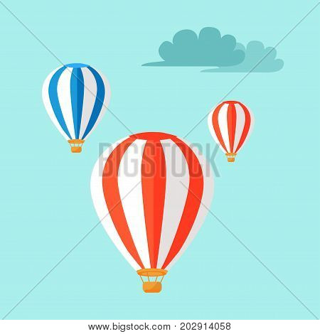 Airballoons flying in the blue sky vector illustration. Three colorful ballons fly among clouds. Air transportation symbols in flat design. Journey on hotair device concept, Taiwan means of transport