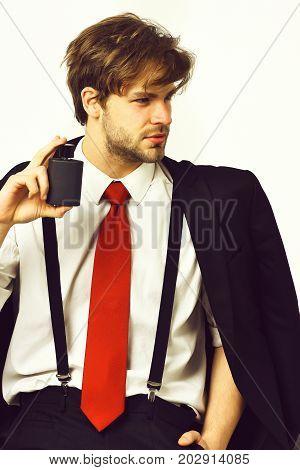 Caucasian Stylish Man Posing With Perfume