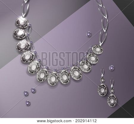 Vector illustration of necklace and pair earrings with gemstones isolated on background