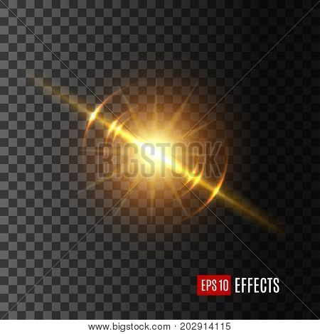 Light flash with lens flare effect of glittering sun or starlight beam and sparkling ray on transparent background. Vector isolated twinkling star or solar space burst and gleaming bokeh glare sparkle
