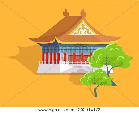 Confucius oldest temple in Taiwan flat and shadow theme on yellow background. Vector illustration of majestic building, main attraction with two green trees. Cartoon style graphic design for web.