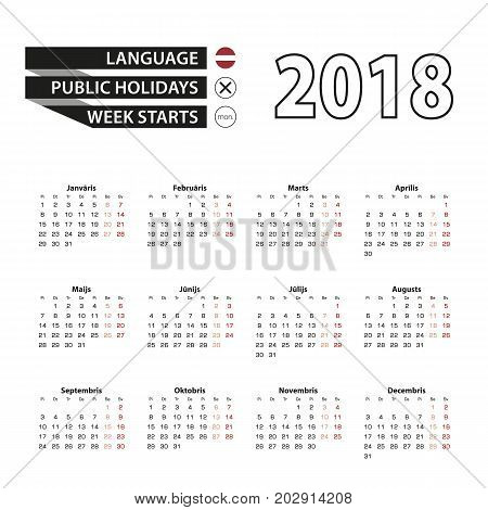 Calendar 2018 On Latvian Language. Week Starts From Monday.
