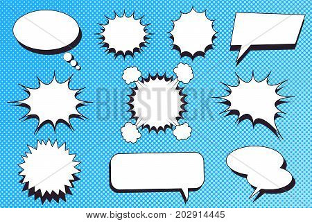 Comic speech bubbles set with blank white clouds of different shapes for design and advertisiment on blue dotted background. Vector illustration