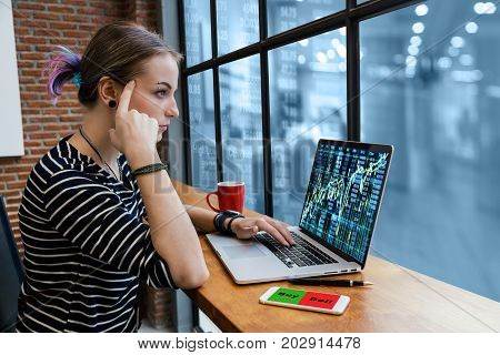 Hipster young Woman freelancer thinking about her job and using computer laptop showing trading graph with photo blurred of trading graph background Business financial and forex concept, 3D illustration