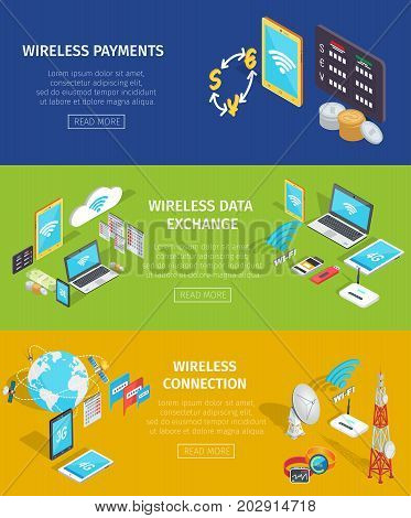Modern devices that provide wireless shopping, data exchange and Internet connection. Web site with information about nowadays technologies that help communicate and purchase vector illustration.