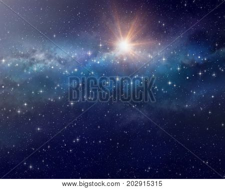 High definition galactic background bright light and stars shining in a milky way