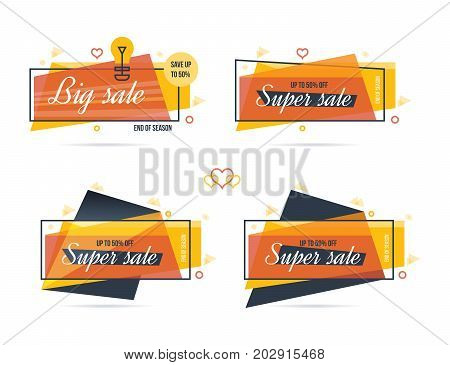 Super sale, mega sale and discounts labels set. Colorful realistic sticker, banner for sale, shopping, market. Vector illustration isolated sale stickers.