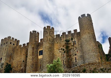 Ruins of the Obidos castle. Obidos is an ancient medieval Portuguese village from the 11th century still inside castle walls. Obidos Portugal