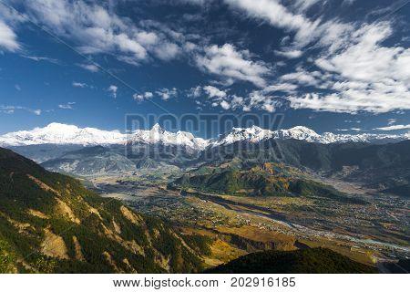 Annapurna Himalayan Mountain Range Valley Stylized