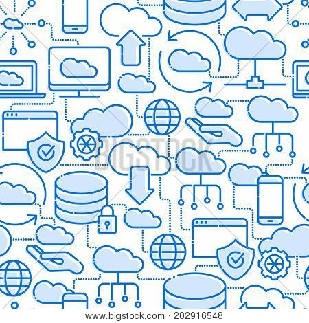 Cloud computing technology seamless pattern with thin line icons related to hosting, server storage, cloud management, data security, mobile and desktop memory. Vector illustration.